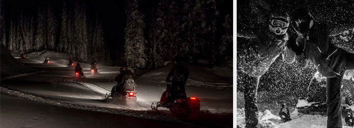 Night snowmobile tours on Mt. Mackenzie