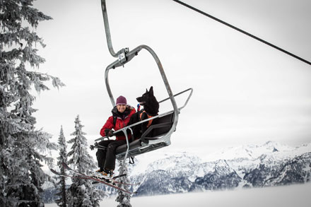 CARDA dog & handler on chairlift