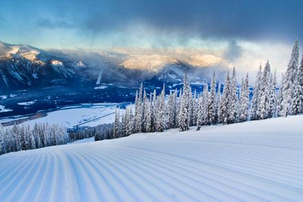 Steep groomed ski run at Revelstoke Mountain Resort