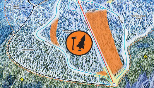 Cropped trail map displaying new glading on the Ripper at Revelstoke Mountain Resort